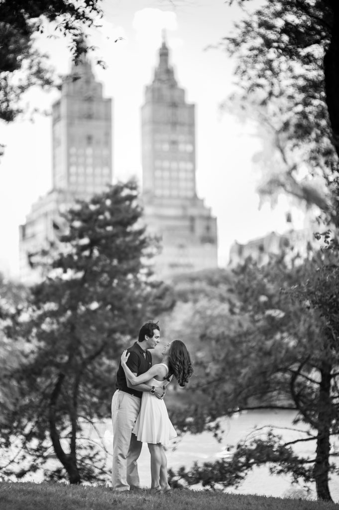 An engagement shoot in front of the San Remo building from Central Park