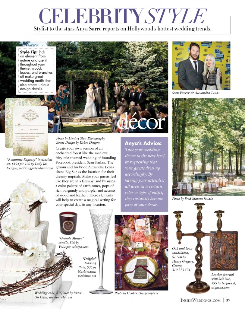 Our photo featured in Inside Weddings Magazine