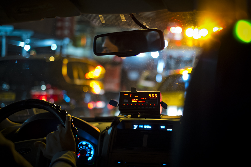 View from the inside of a taxi cab