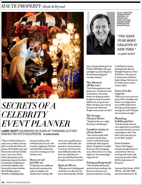 Secrets of a celebrity event planner, Larry Scott.