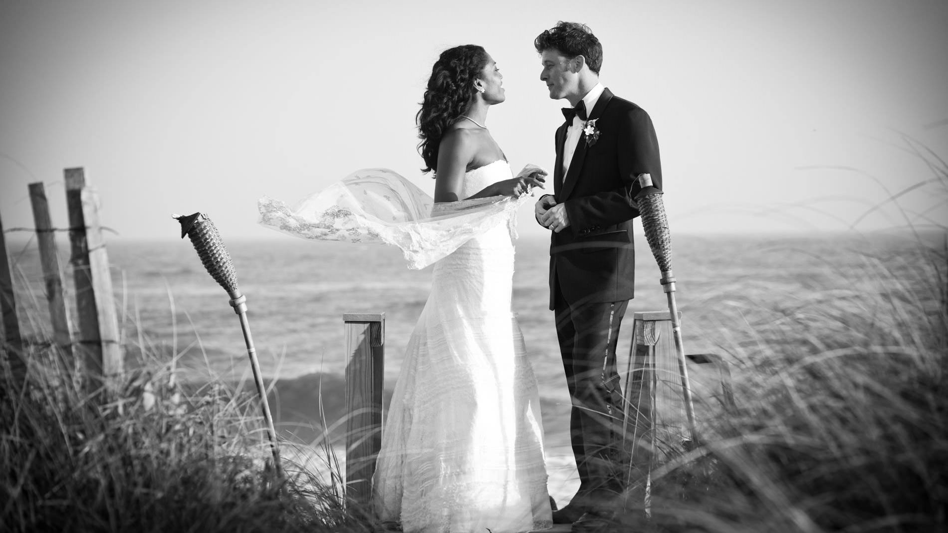 Bride and Groom in B&W photo