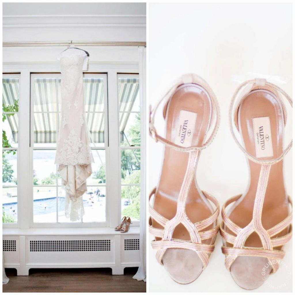 Ines Di Santo wedding dress and Valentino shoes