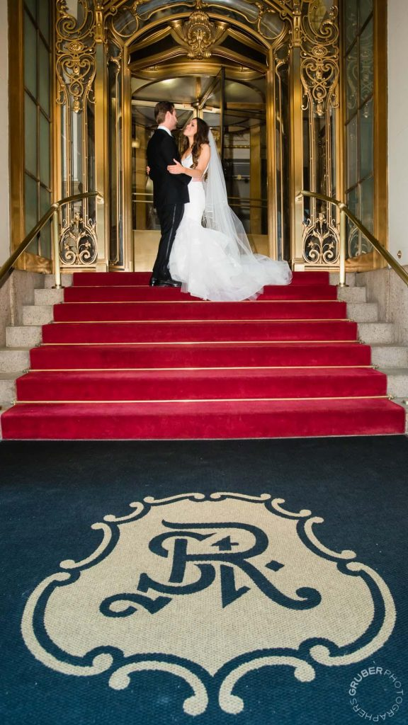 Bride and Groom on the Steps of The St Regis