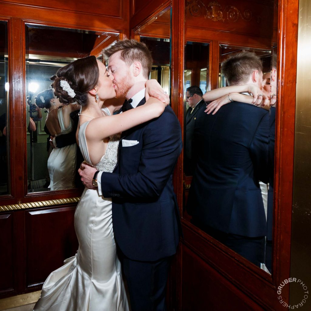 Bride and Groom in the elevator