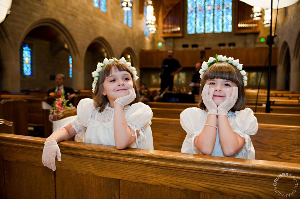 Flower girls during the ceremony