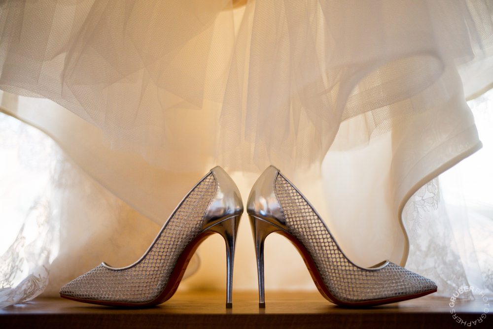 Christian Louboutins under wedding dress