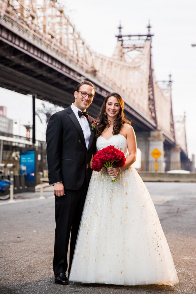 Bride and Groom under the Brooklyn Bridge
