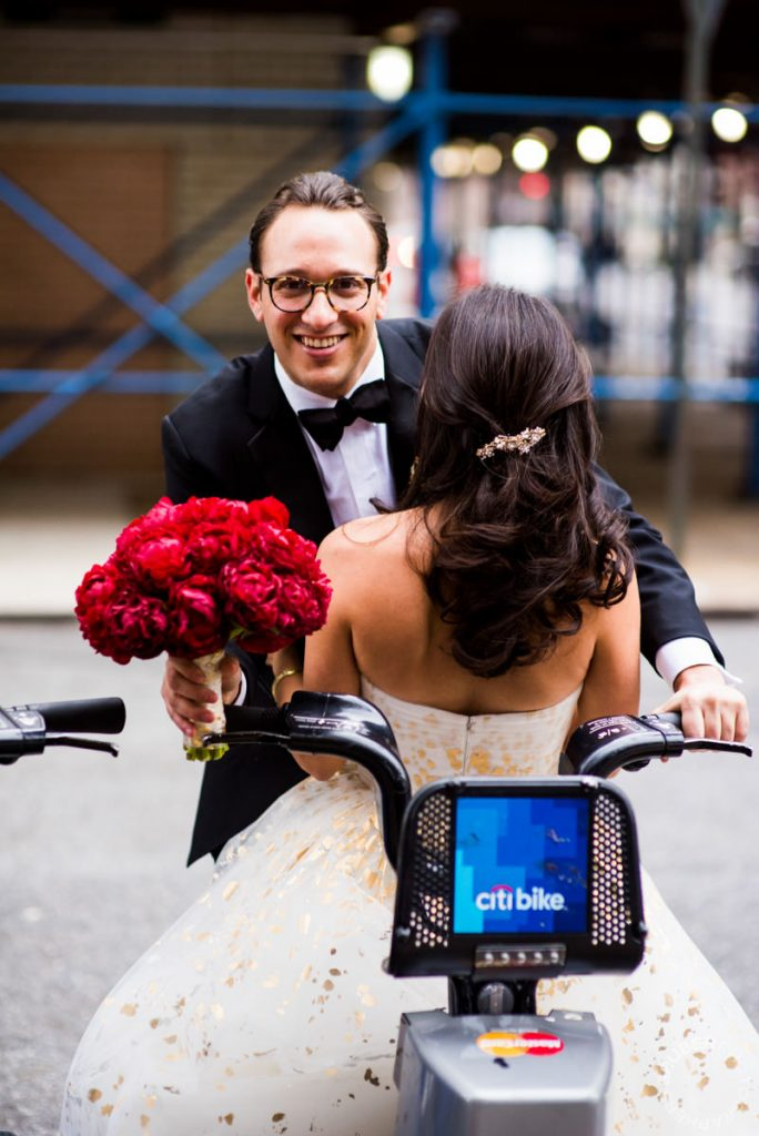 Bride and Groom on CitiBikes