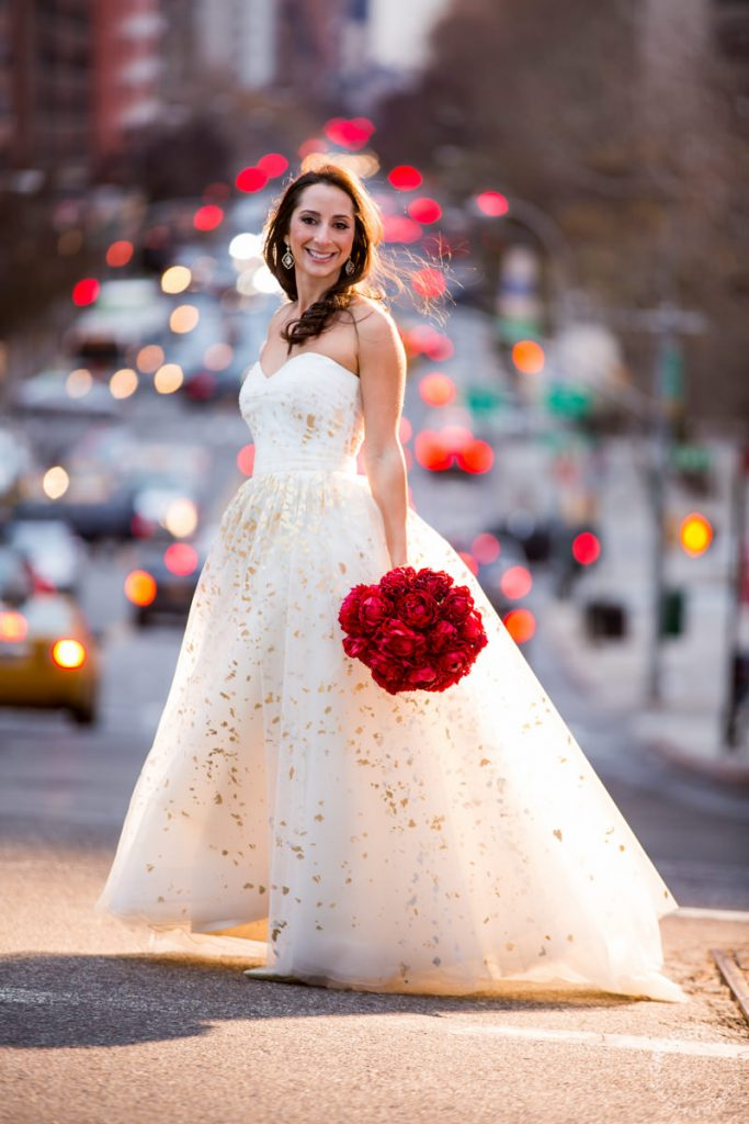 NYC Wedding Bride wearing Carolina Herrera