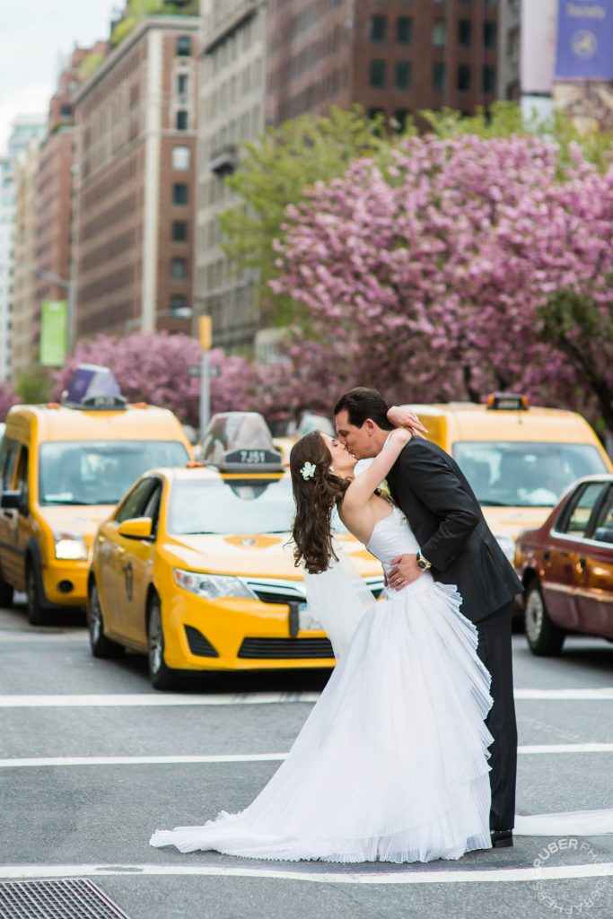 Couple kisses in the street