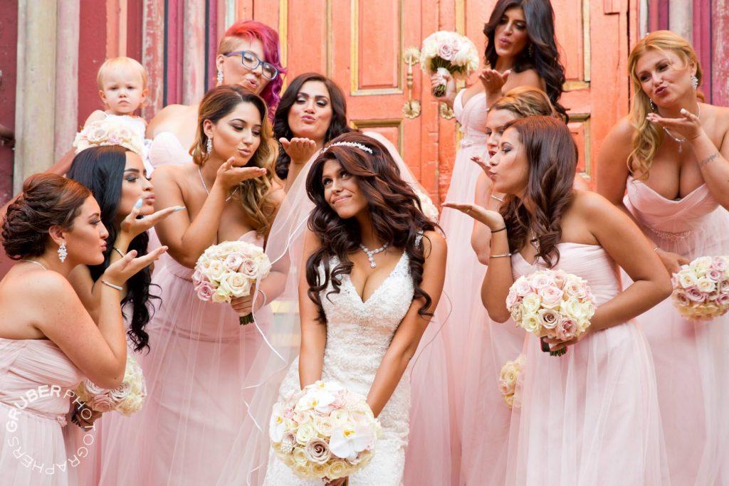 The bridesmaids sending their love to the beautiful bride Gabriella