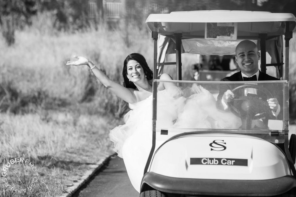 A golf cart chariot to drive off in as husband and wife