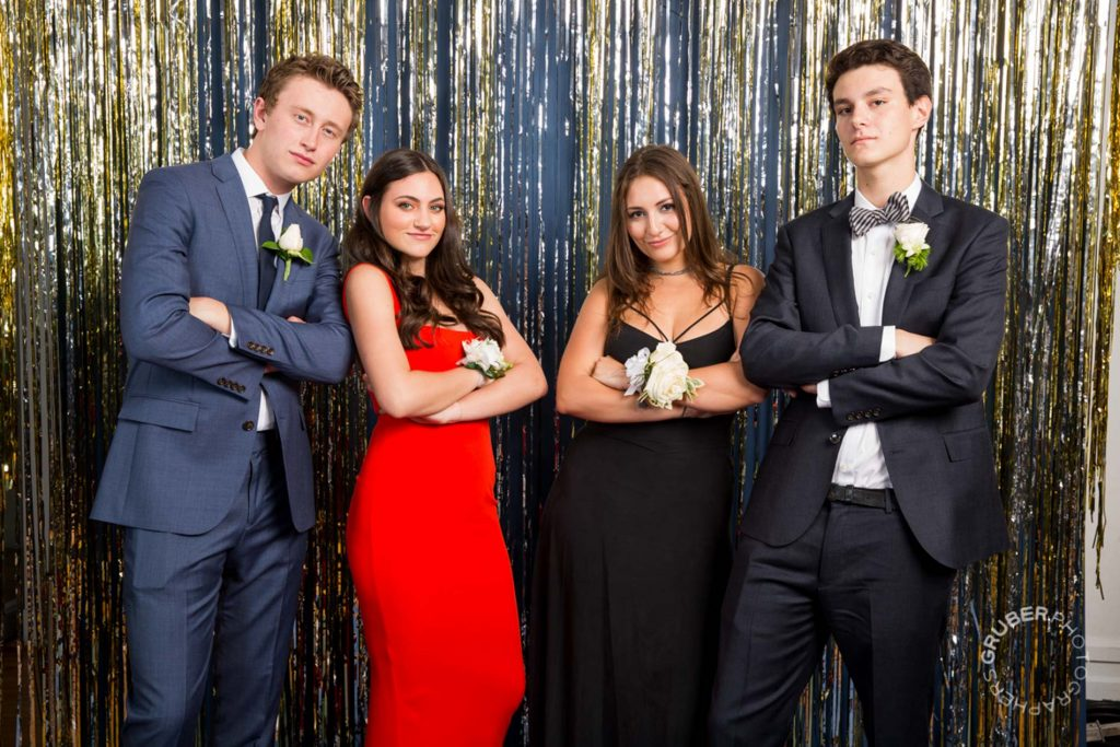 Two Couples Pose for Prom Photos