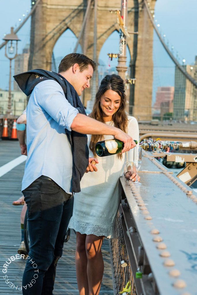 Newly Engaged Couple Celebrates with Champagne