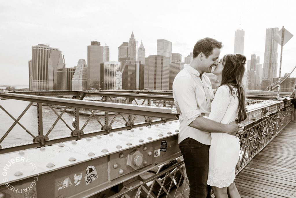 Couple Holds Each Other on Brooklyn Bridge