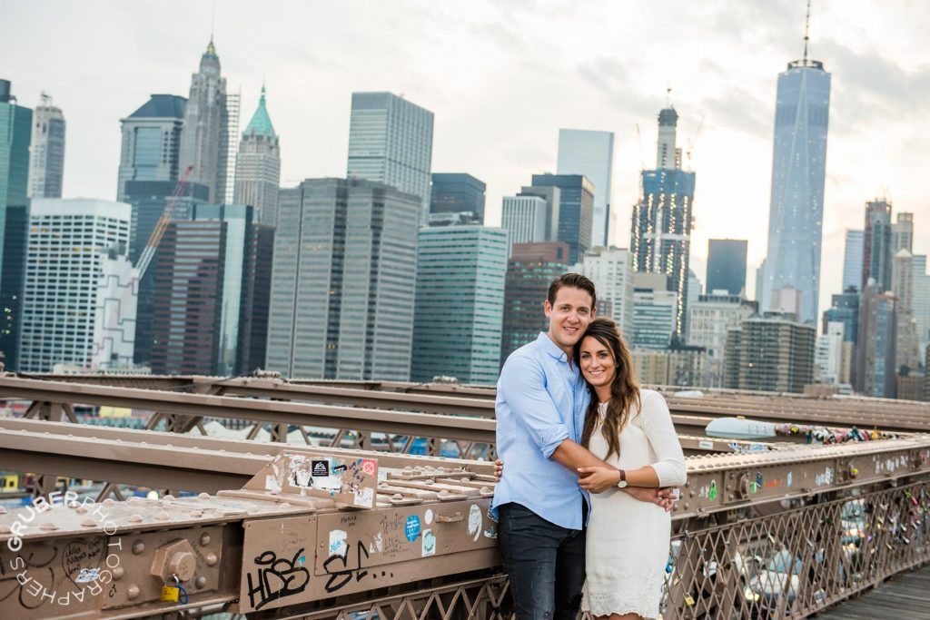 Engaged Couple with NYC in the Background