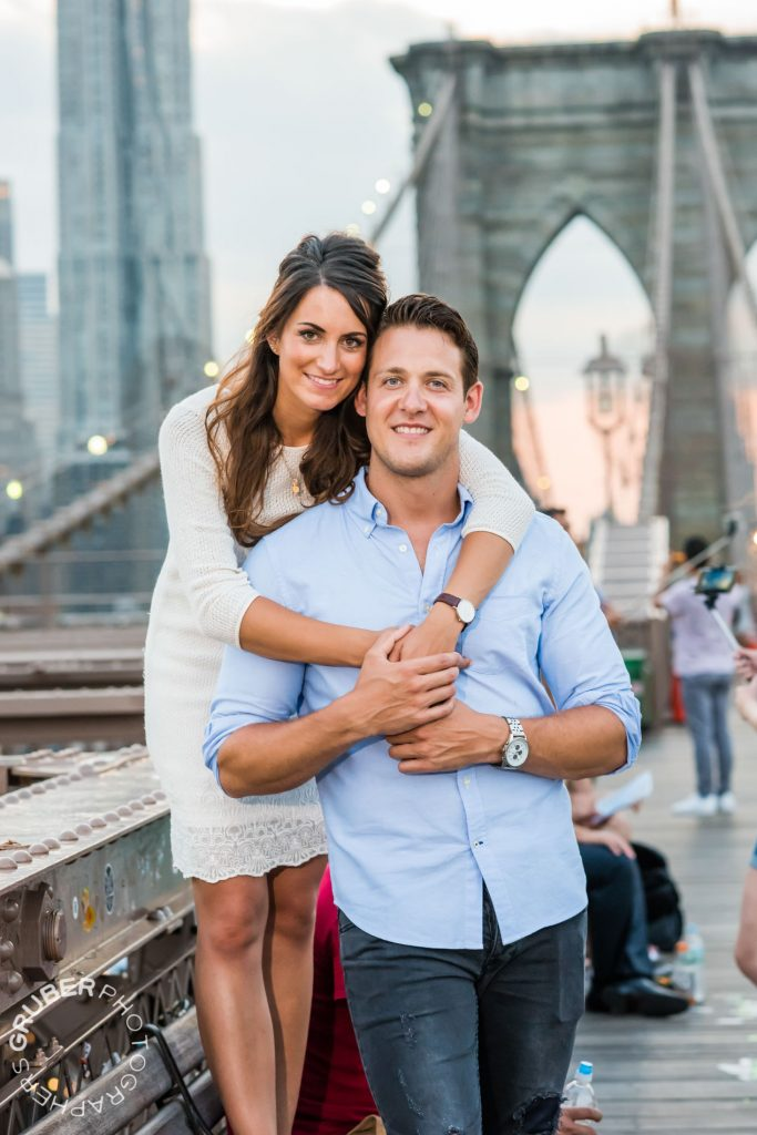 Engaged Couple on Brooklyn Bridge