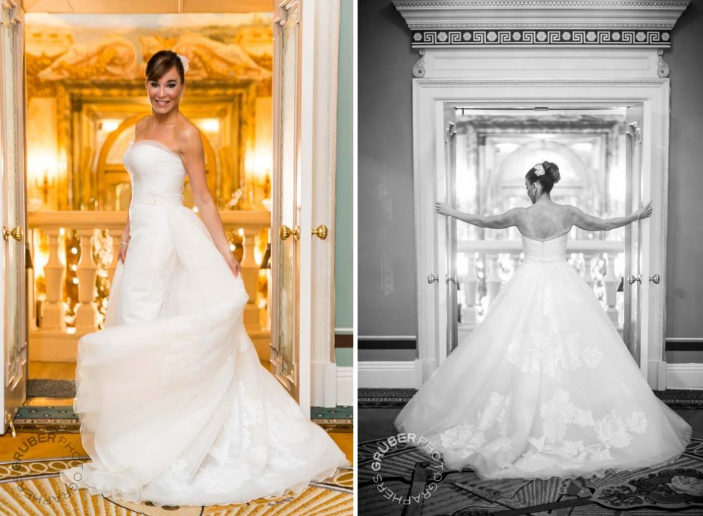 Bride posing in her Dress