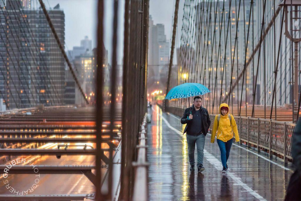 Couple Walking on the Brooklyn Bridge