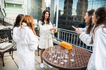 Bridal Party Celebrating Before Wedding in NYC