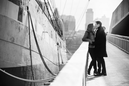 Engaged Couple by the Water in NYC